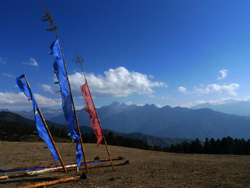 Hill top flags in Bhutan