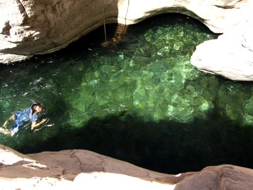 Swimming in Wadi Bani Khalid, Oman
