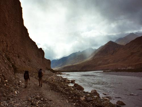 Hiking out of the Inylchek Valley, Kyrgyzstan