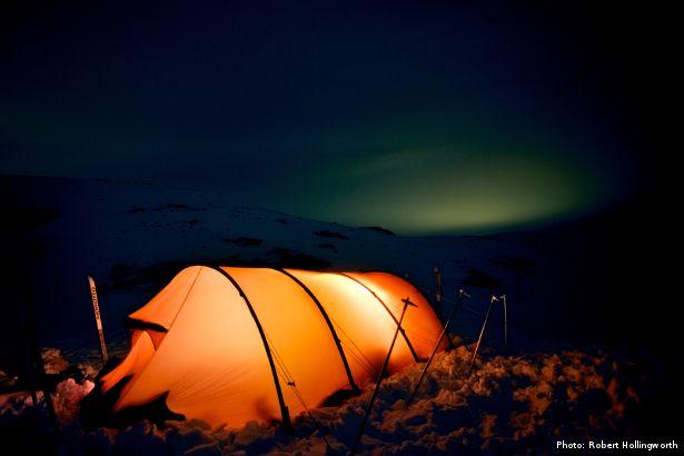 Illuminated tent at night (Photo: Robert Hollingworth)