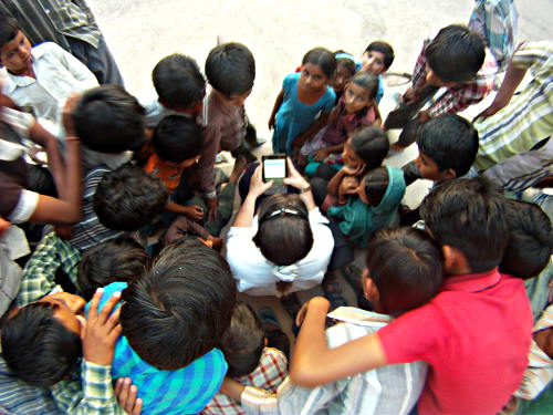 Using Google Translate and mobbed by kids