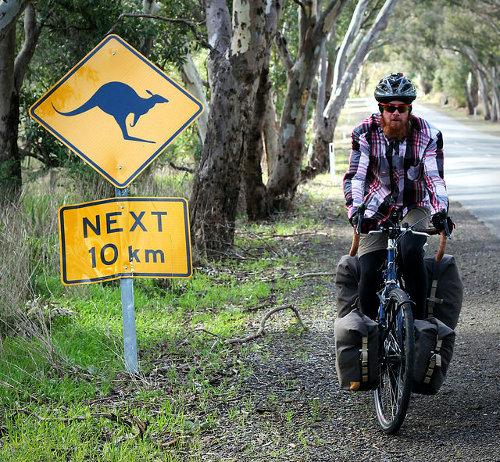 Kangaroo Road Sign - Cycling in Australia
