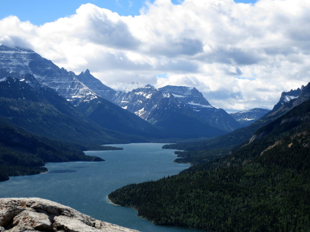View of Waterton Lake, and the valley where I spent the 100th night