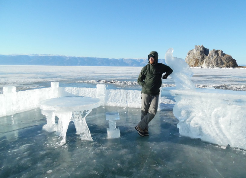 Crossing frozen Lake Baikal