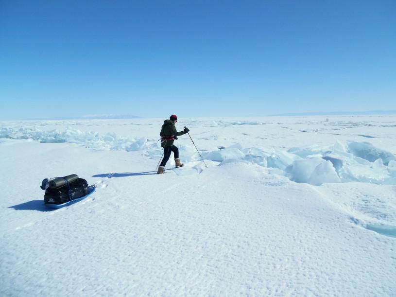 Walking Across Frozen Lake Baikal