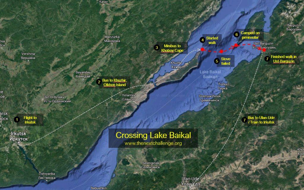 Crossing Lake Baikal - Expedition map